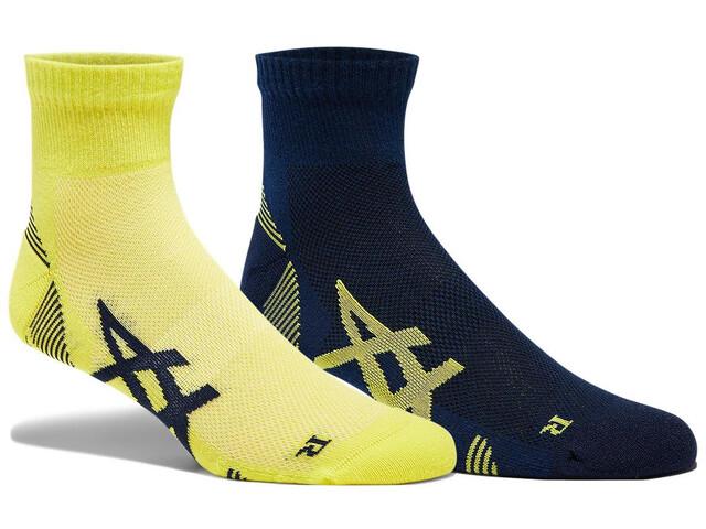 asics Cushioning Socks 2-Pack Men, azul/amarillo